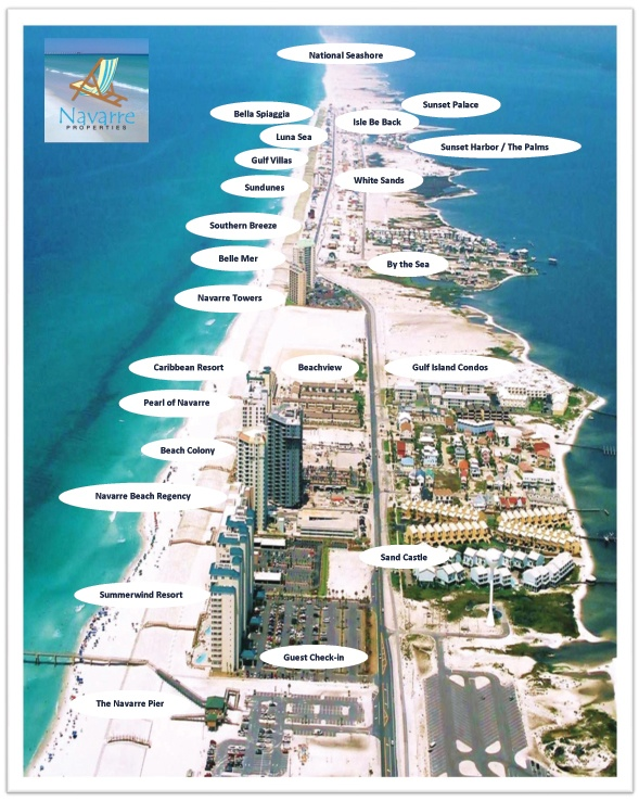 navarre beach rentals on map